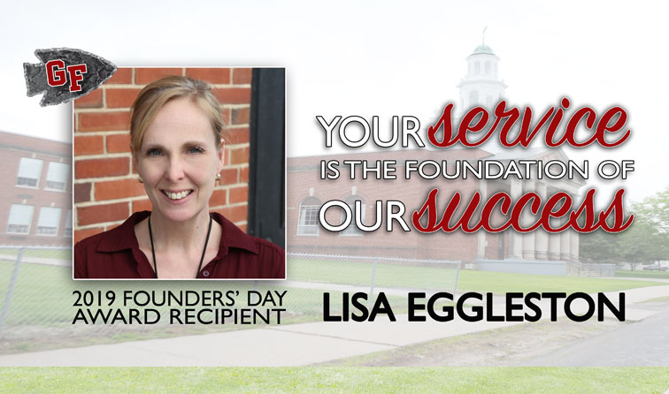 composite graphic of wmans smiling and text your service is the foundation of our success 2019 founders day recipient Lisa Eggleston
