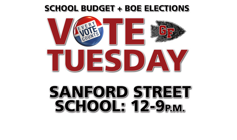 graphic with voting button and text: school budget + BOE elections vote Tuesday Sanford Street School noon-9pm