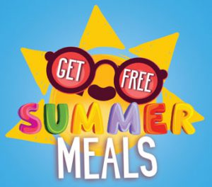 "graphic of cartoon sunshine and sunglasses with text ""get free summer meals"""