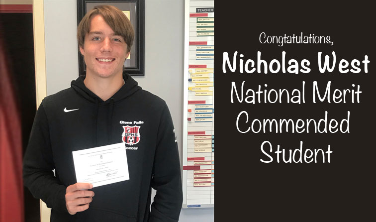 composite graphic of student smiling holding certificate and text: congratulations Nicholas West National Merit Commended Student