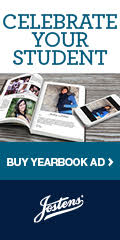 """graphic of yearbook and text """"create your ad"""""""