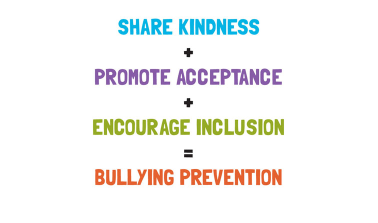 text graphic reading share kindness + promote acceptance + encourage inclusion = bullying prevention