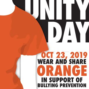 """graphic of orange shirt with text """"Unity Day, Oct. 23, 2019 - wear and share orage in support of bullying prevention"""""""