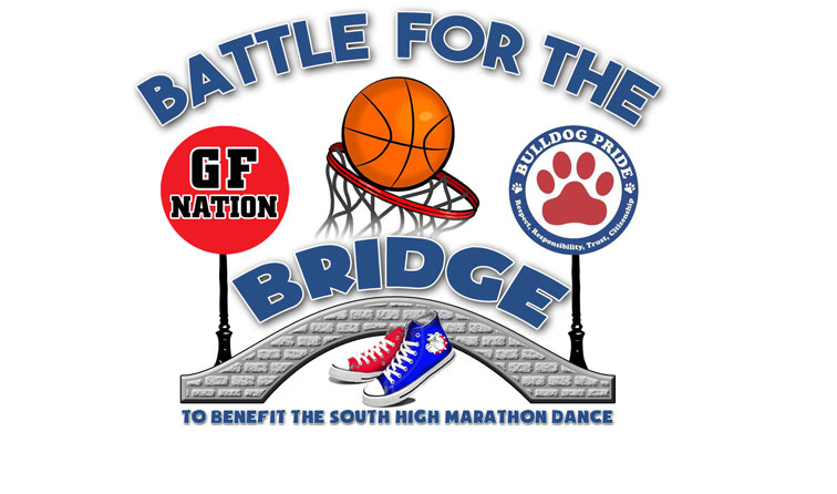 """graphic composite of basketball in net with red and blue sneakers and text """"battle for the bridge to benefit the South High Marathon Dance"""""""