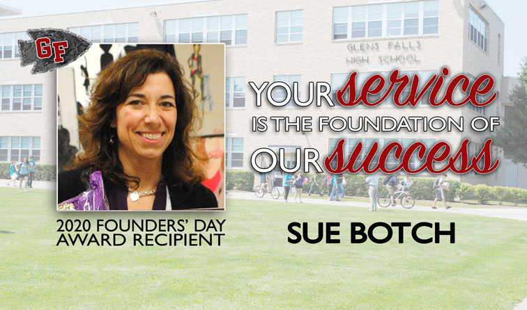 composite graphic with high school in background, woman smiling, and text: 2020 Founders Day Award Recipient Sue Botch - Your service is the foundation of our success
