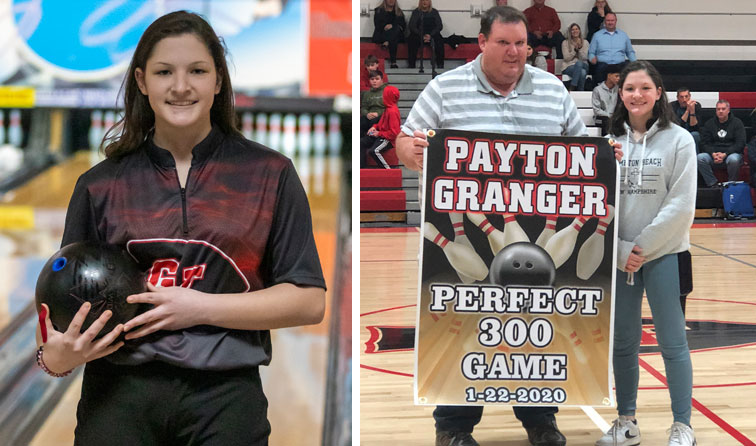composite photo of student smiling with bowling ball and man holding poster reading Payton Granger perfect 2300 game 1-22-20