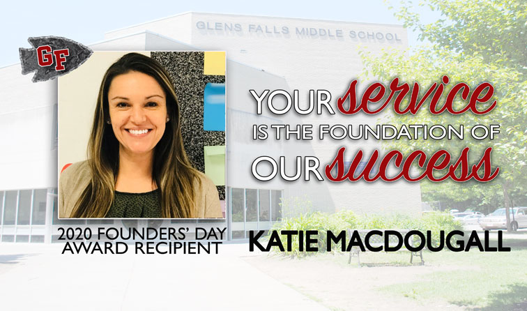 composite graphic with school in background, woman smiling, and text: 2020 Founders Day Award Recipient Katie MacDougall - Your service is the foundation of our success