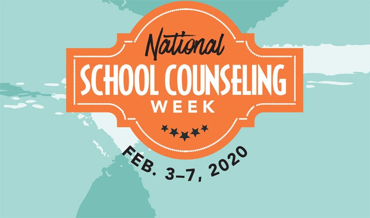 Graphic with orange and blue swirls and text: National School Counseling Week Feb. 3-7, 2020