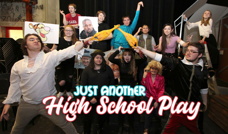 "group of students holding funny props while in character for the drama production ""Just Another High School Play"""
