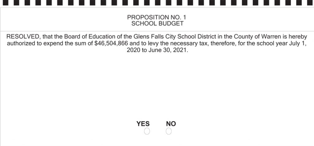 graphic of the June 9, 2020 ballot, showing budget proposition
