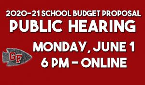 graphic with text 2021 school budget proposal public hearing Monday, June 1 - 6pm, onlne