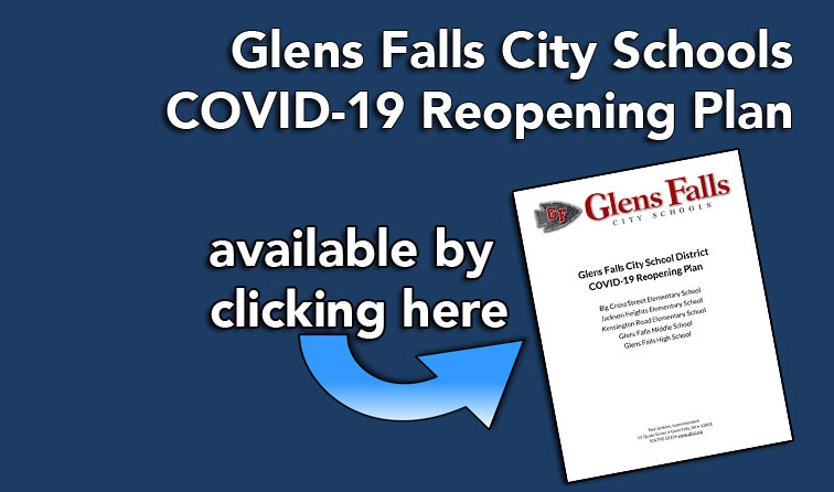 graphic of plan document on blue background with text: GF City Schools COVID=19 reopening plan available by clicking here
