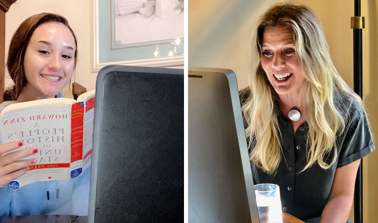composite image of student learning at home with Chromebook and US History textbook and teacher smiling into computer screen
