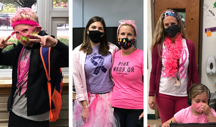 composite graphic of students and teachers wearing fun pink outfits for Pink Out Day
