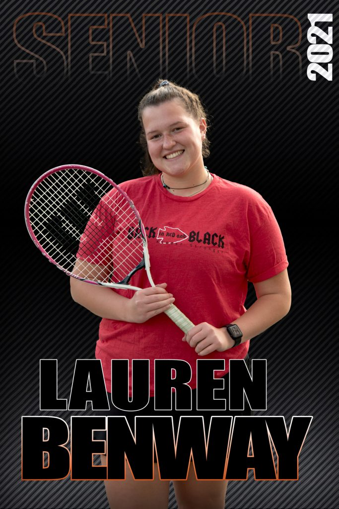 composite graphic of student smiling holding tennis racket with text Lauren Benway Senior 2021