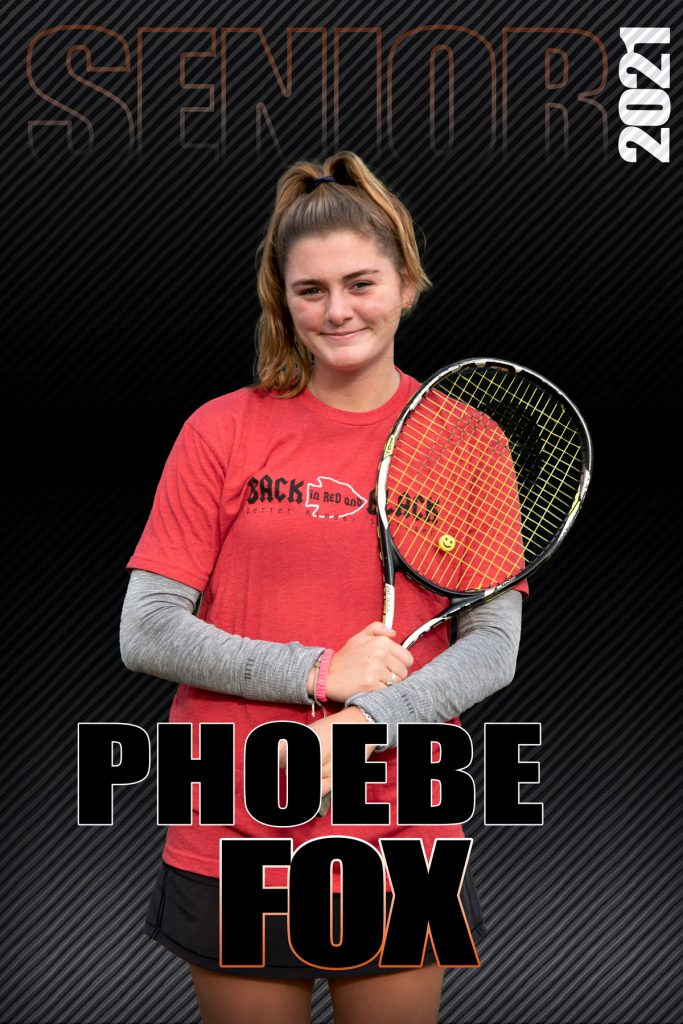 composite graphic of student smiling holding tennis racket with text Phoebe Fox Senior 2021