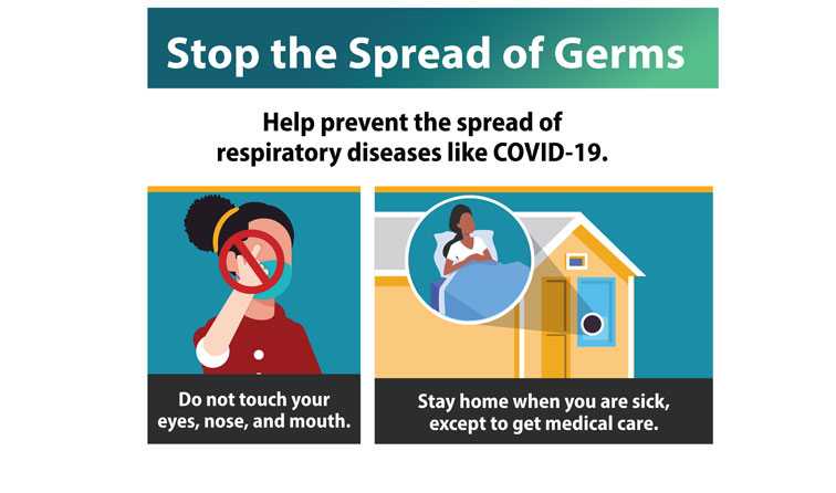cartoon graphic from CDC with hands being washed, spray cleaner, and text Stop the spread of germs - wash your hands - clean and disinfect surfaces