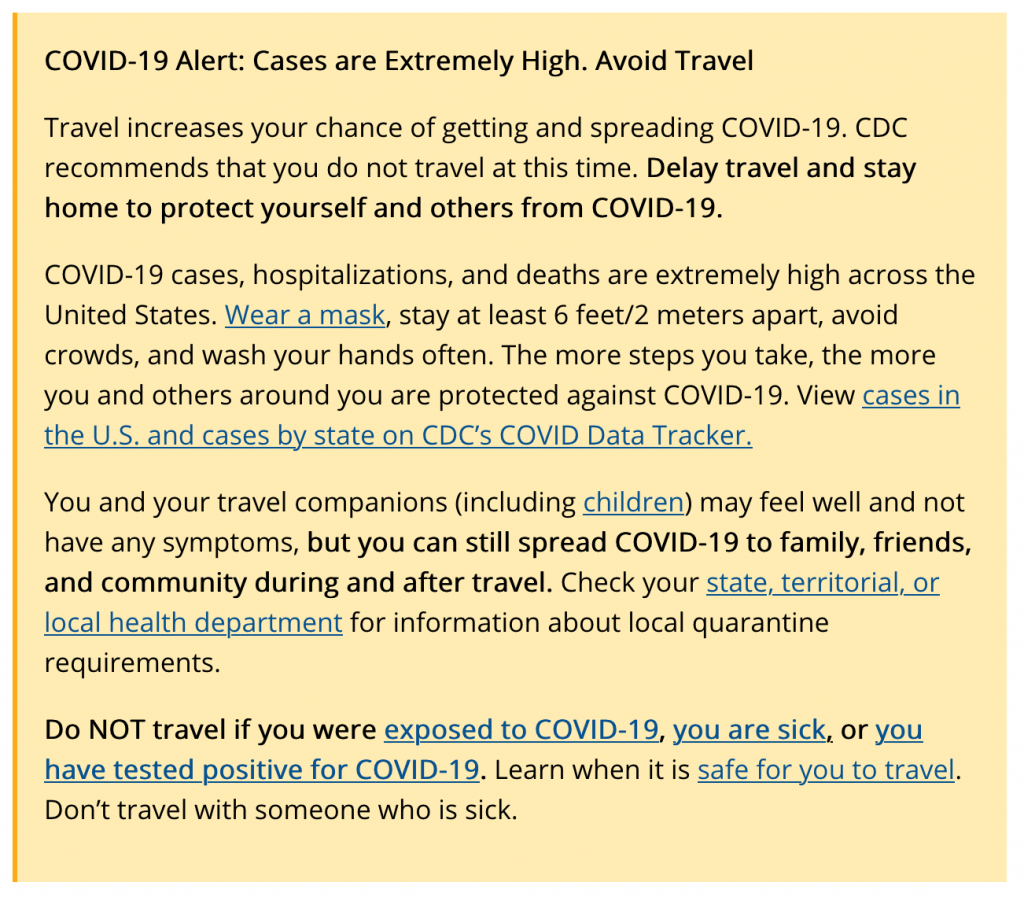 COVID-19 Alert: Cases are extremely High. Avoid Travel