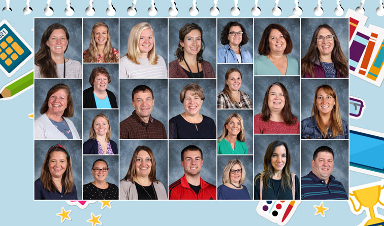 composite graphic of teacher yearbook photos