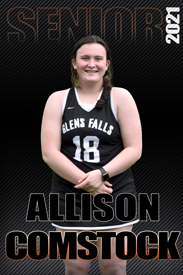 composite graphic of student smiling with text Allison Comstock Senior 2021