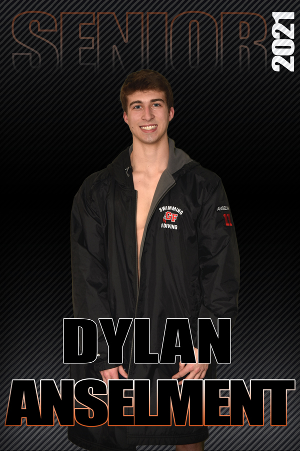 composite graphic of student smiling with text Dylan AnselmentSenior 2021