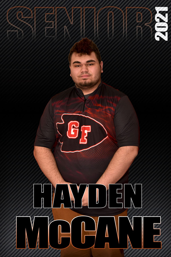 composite graphic of student smiling with text Hayden McCane Senior 2021