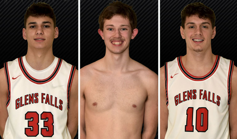 composite image of three student athletes smiling