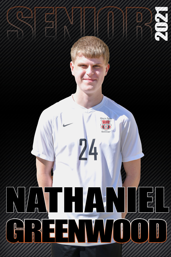 composite graphic of student smiling with text Nathaniel Greenwood Senior 2021