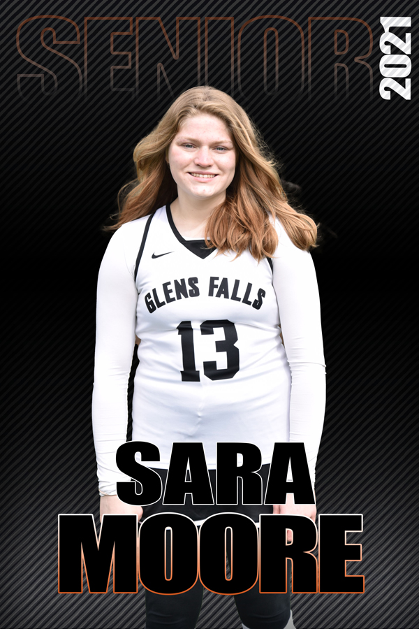 composite graphic of student smiling with text Sara Moore Senior 2021