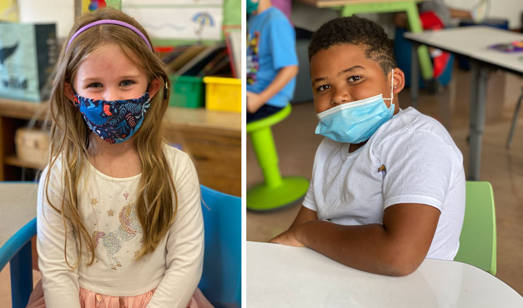 composite image of two students in classrooms grinning under their masks
